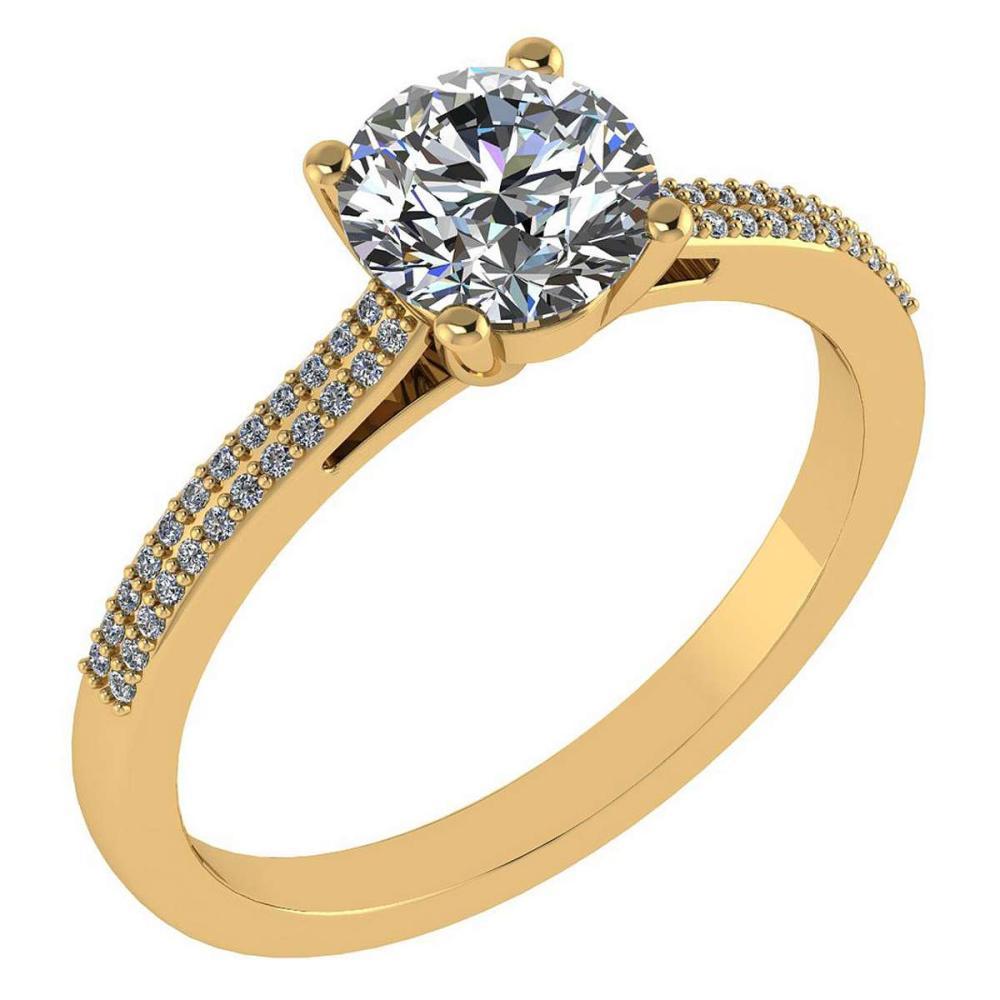 Certified 1.37 Ctw Diamond 14k Yellow Gold Halo Ring #1AC97369
