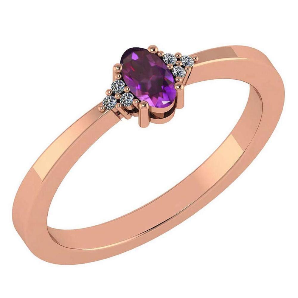 Certified 0.24 Ctw Amethyst And Diamond 18K Rose Gold Halo Ring #1AC99197