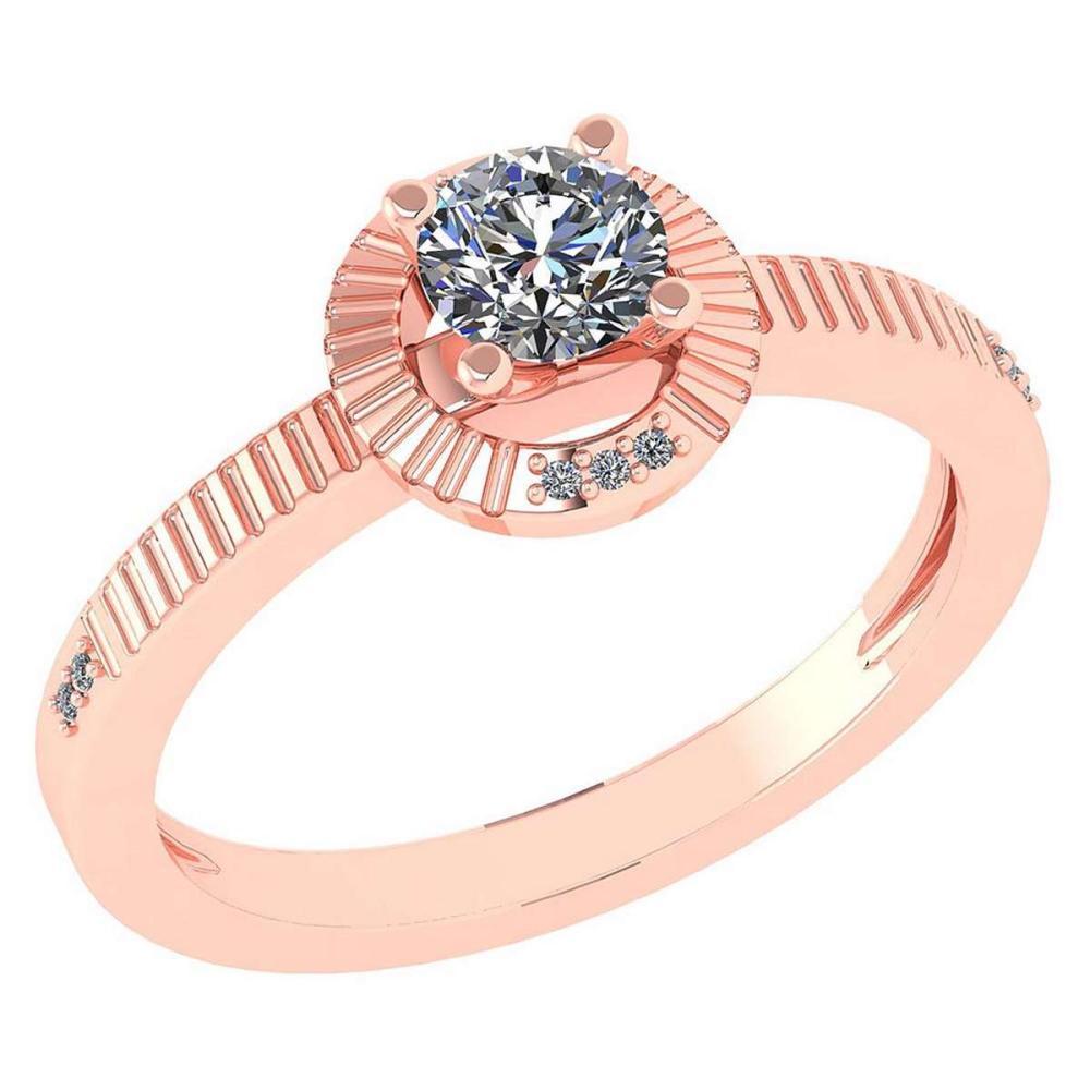 Certified 0.37 CTW Diamond 14k Rose Gold Halo Ring #1AC98756