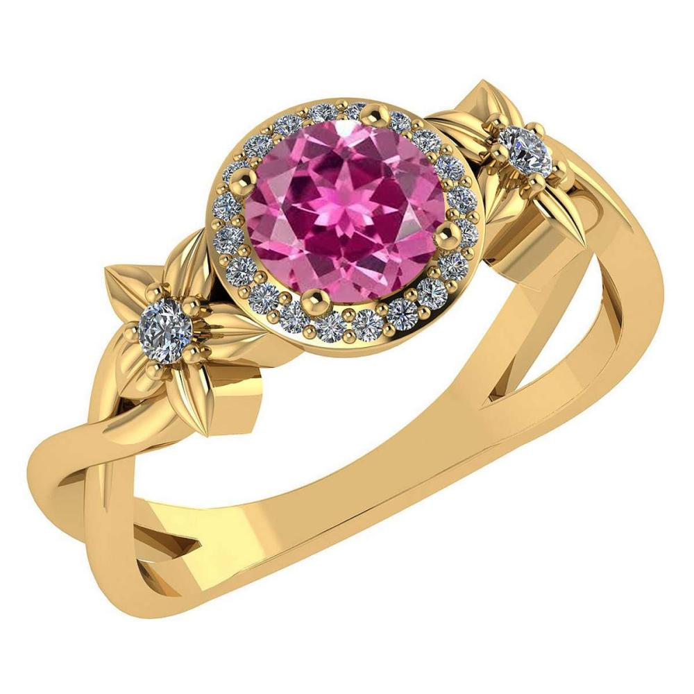 Certified 1.00 Ctw Pink Tourmaline And Diamond 14k Yellow Halo Gold Ring (VS/SI1) #1AC18510