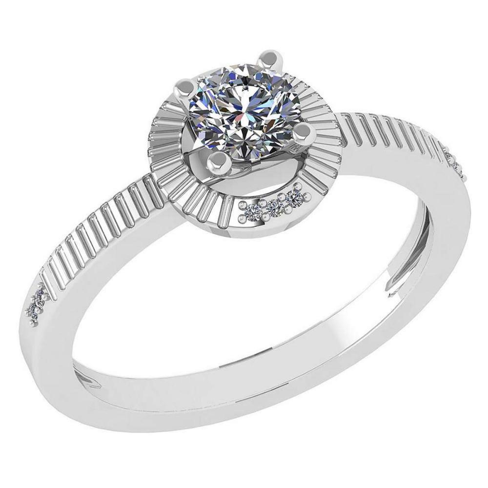 Certified 0.37 CTW Diamond 14k White Gold Halo Ring #1AC98757