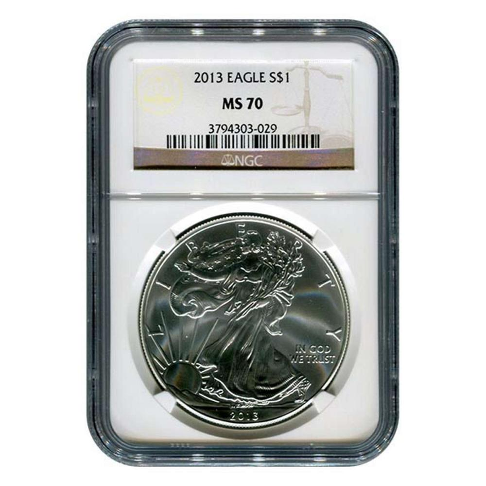 Certified Uncirculated Silver Eagle 2013 MS70 NGC #1AC84531