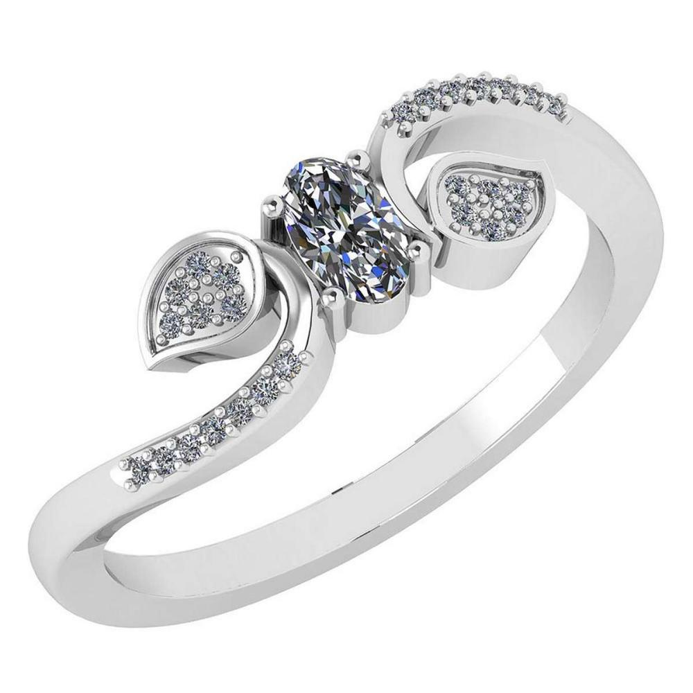 Certified 0.28 CTW Diamond 14k White Gold Halo Ring #1AC98761