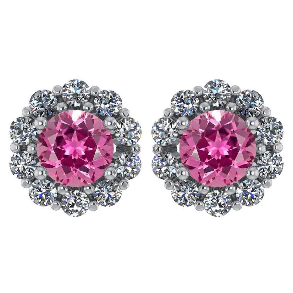 Certified 2.30 Ctw Pink Touramline And Diamond 14k White Gold Halo Stud Earrings #1AC97226