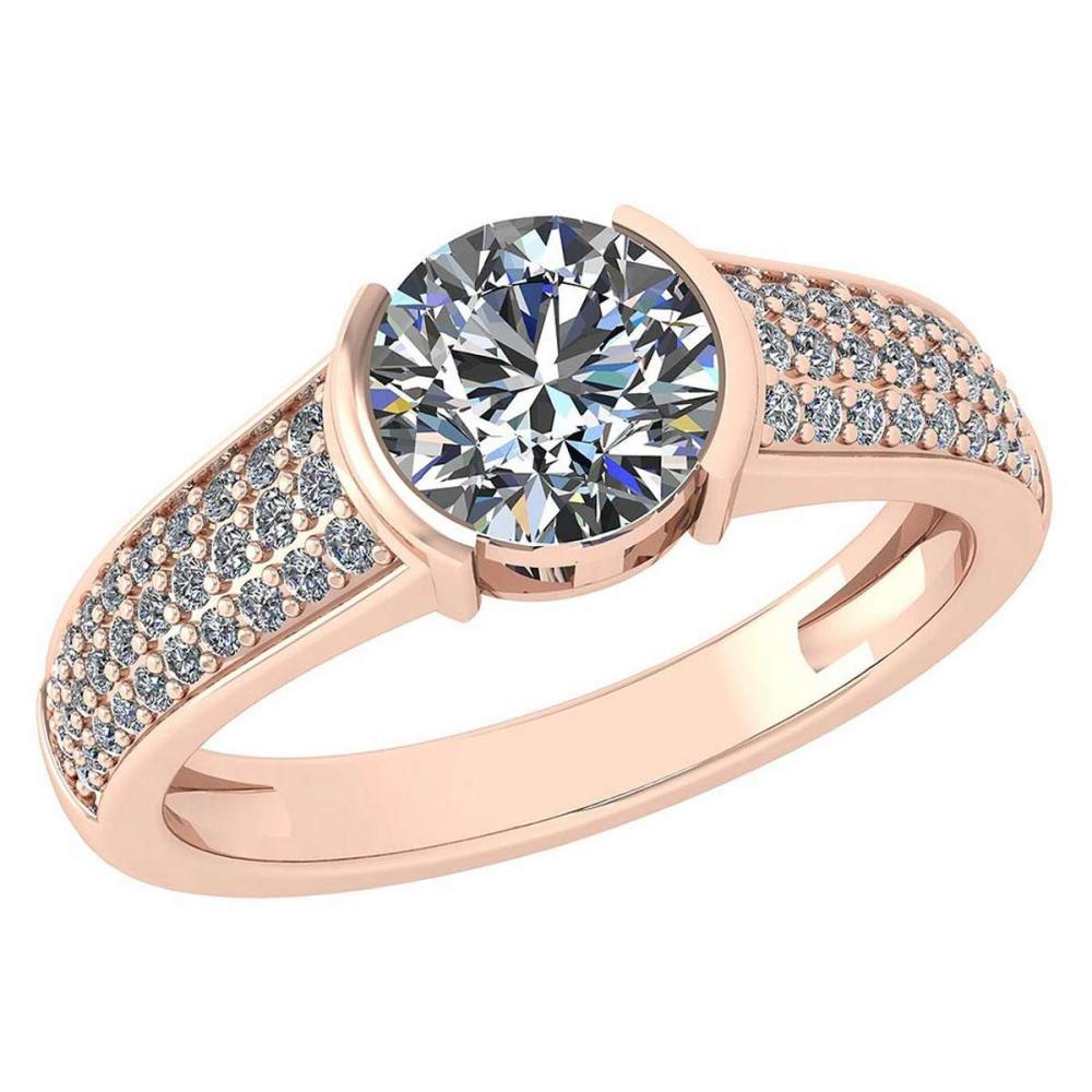 Certified 1.55 Ctw Diamond Halo Ring For Engagement New Expressions love collection 14K Rose Gold (SI2/I1) #1AC19219