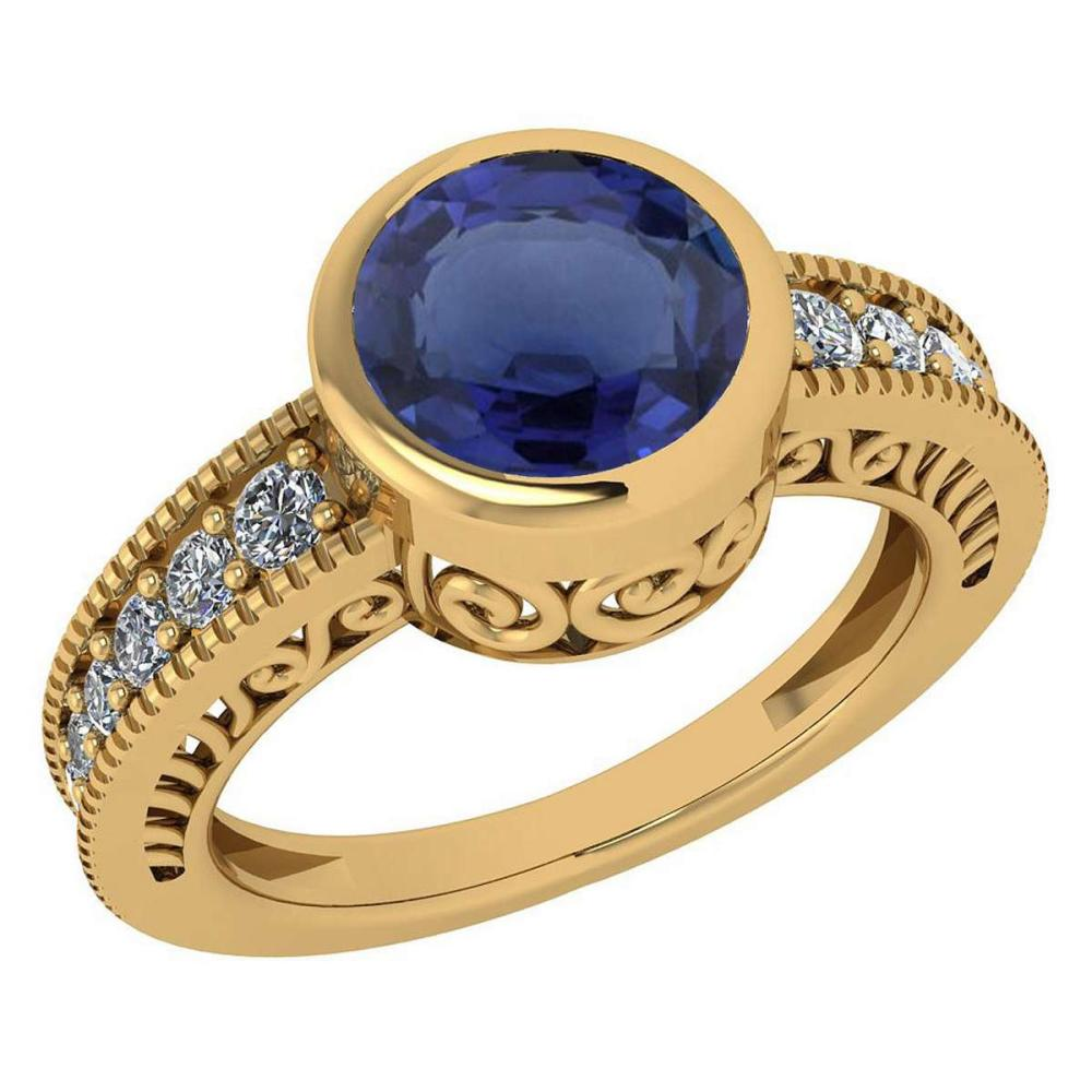 Certified 1.55 Ctw Blue Sapphire And Diamond Wedding/Engagement 18K Yellow Gold Halo Ring #1AC16310