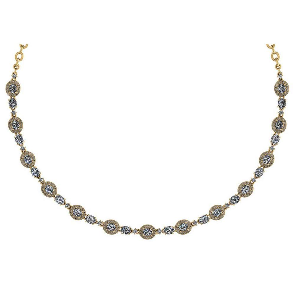 Certified 10.15 Ctw Diamond Necklace For Ladies 14K Yellow Gold (SI2/I1) #1AC19331