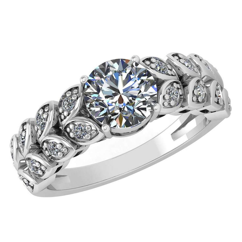 Certified 1.47 Ctw Diamond Wedding/Engagement Style 14K White Gold Halo Ring (SI2/I1) #1AC17880