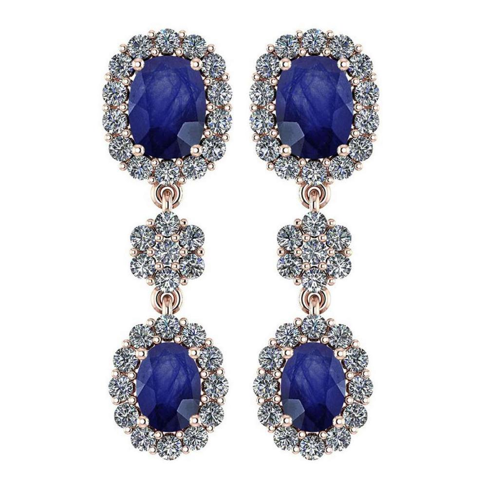 Certified 10.48 Ctw Blue Sapphire And Diamond VS/SI1 Hanging stud Earrings For beautiful ladies 14k Rose Gold #1AC20143