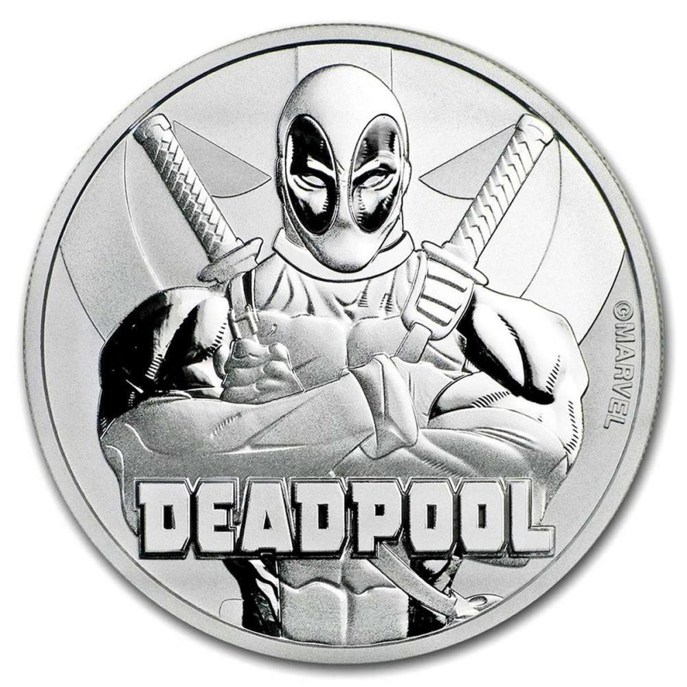 Lot 1111008: 2018 Tuvalu 1 oz Silver $1 Marvel Series Deadpool Coin BU #1AC84392