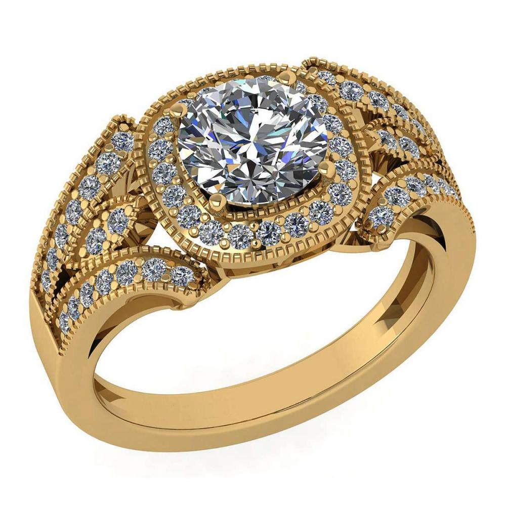 Certified 1.58 Ctw Diamond Wedding/Engagement Style 14K Rose Gold Halo Ring (SI2/I1) #1AC17899