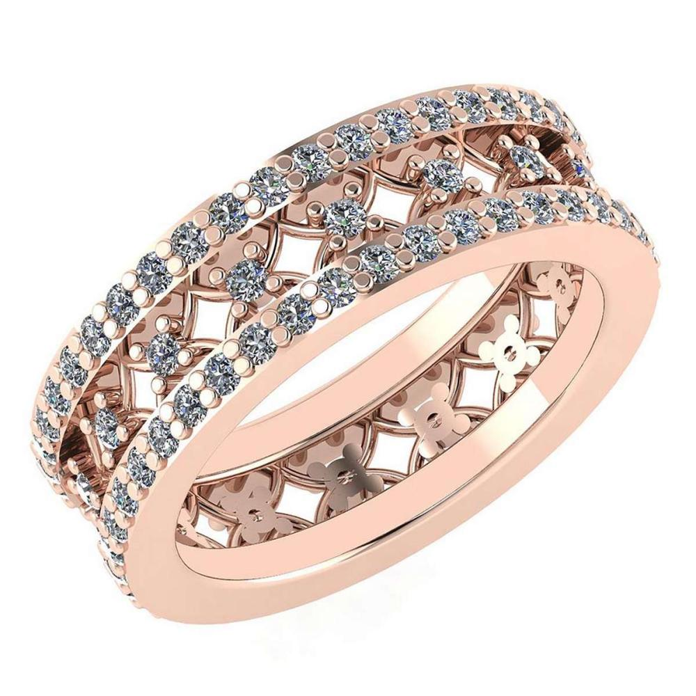 Lot 1111011: Certified 1.34 Ctw Diamond Engagement /Wedding 14K Rose Gold Promises Band #1AC17072