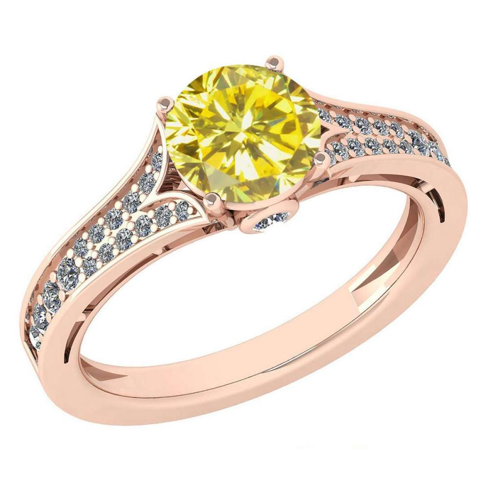 Certified 1.47 Ctw Treated Fancy Yellow Diamond And White G-H Diamond Wedding/Engagement 14K Rose Gold Halo Ring (SI2/I1) #1AC17722