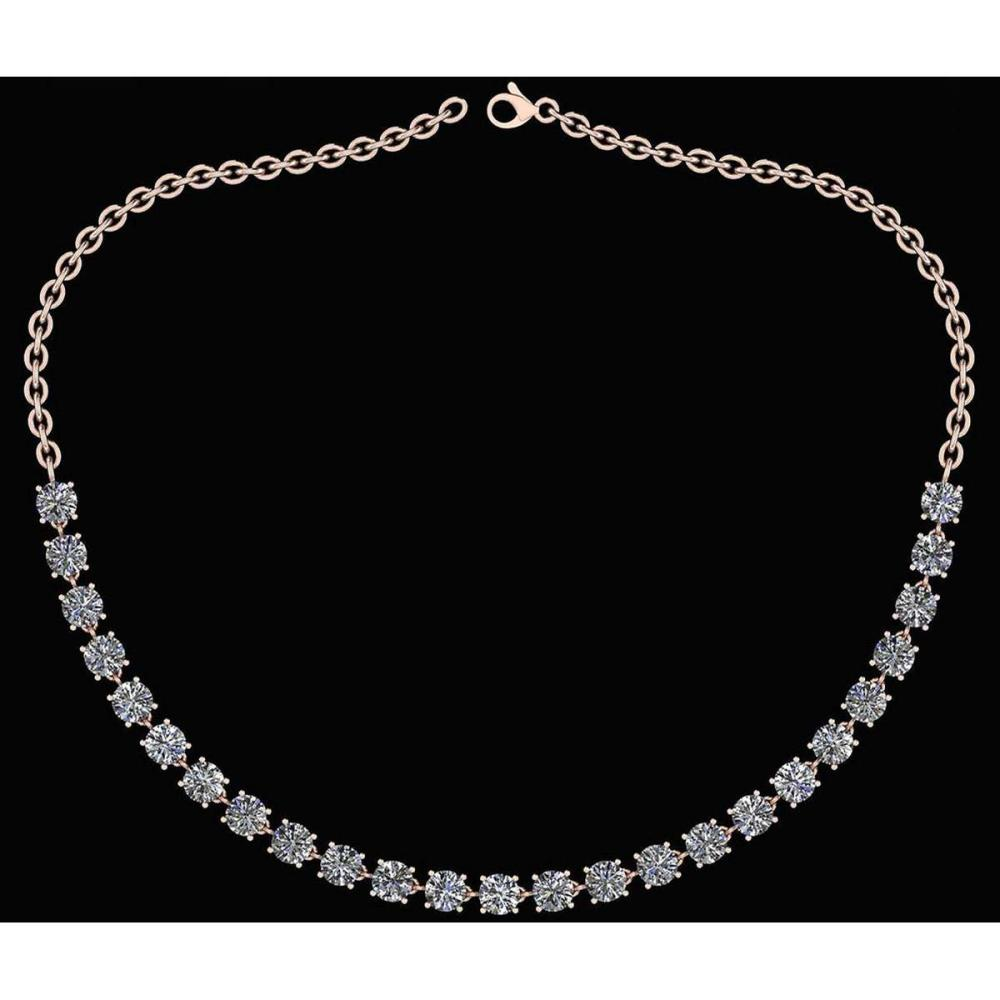 Lot 1111015: Certified 32.50 Ctw Diamond Necklace For Ladies 14K Rose Gold (SI2/I1) #1AC19318