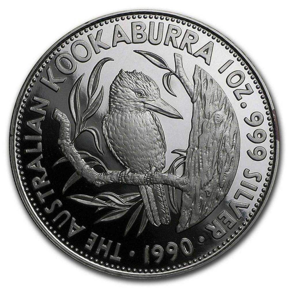 Australian Proof Kookaburra 1oz Silver 1990 Pouch & COA #1AC84420