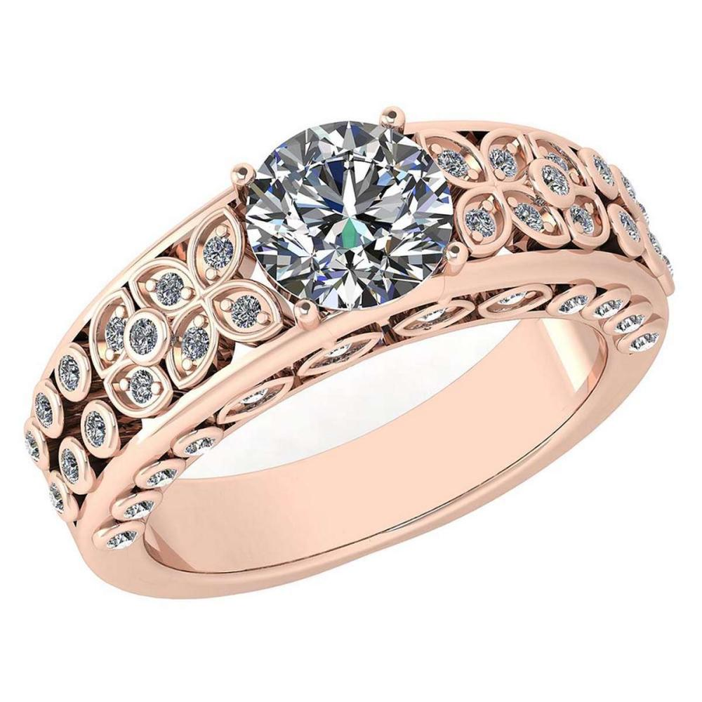 Lot 1111014: Certified 1.65 Ctw Diamond Engagement /Wedding 14K Rose Gold Promise Ring #1AC17090