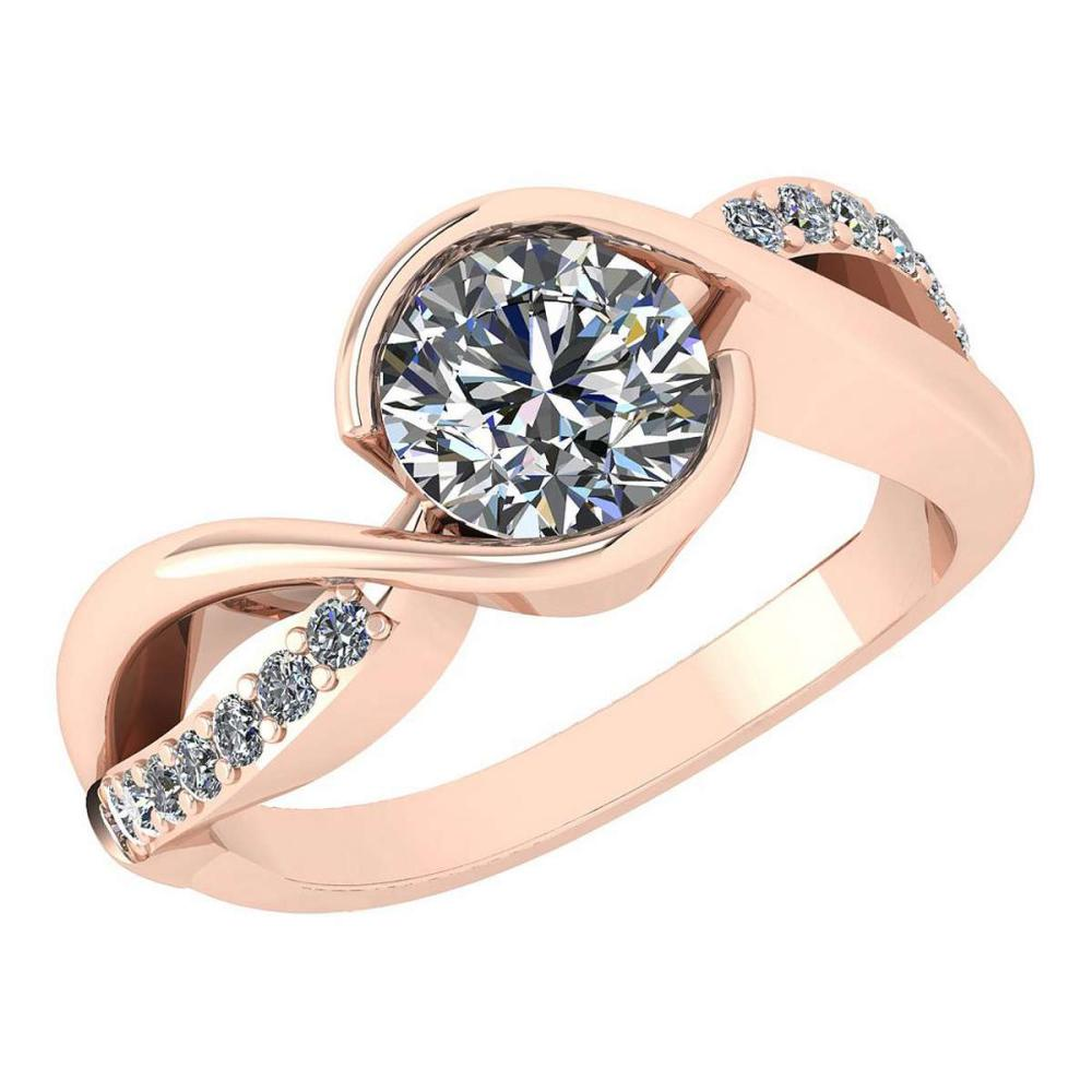 Certified 1.46 Ctw Diamond Wedding/Engagement Style 14K Rose Gold Halo Ring (SI2/I1) #1AC17902