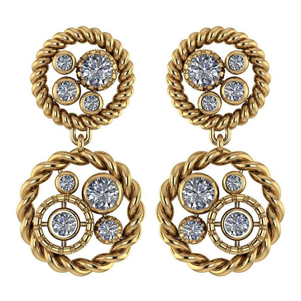 Lot 1111023: Certified 1.74 Ctw Diamond 14K Yellow Gold Halo Stud Earrings #1AC17005
