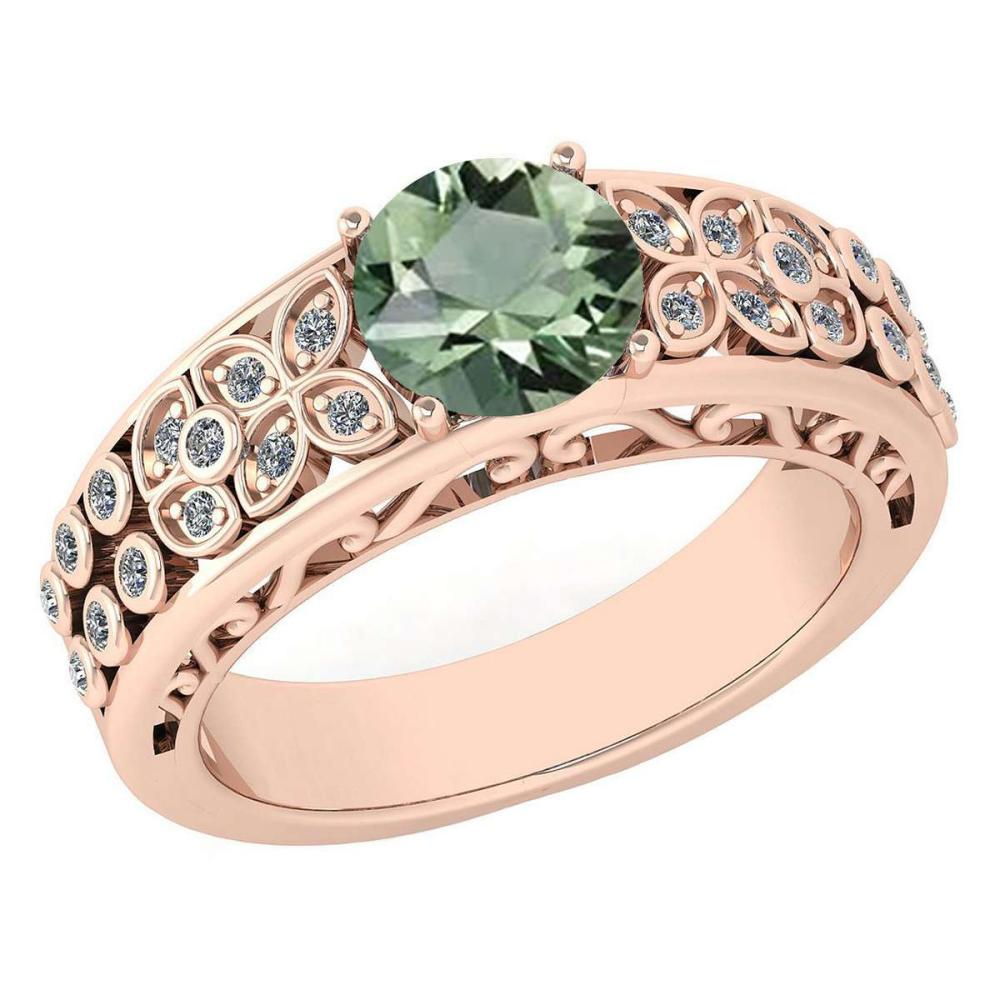 Certified 1.42 Ctw Green Amethyst And Diamond Wedding/Engagement 14K Rose Gold Halo Ring (VS/SI1) #1AC17747