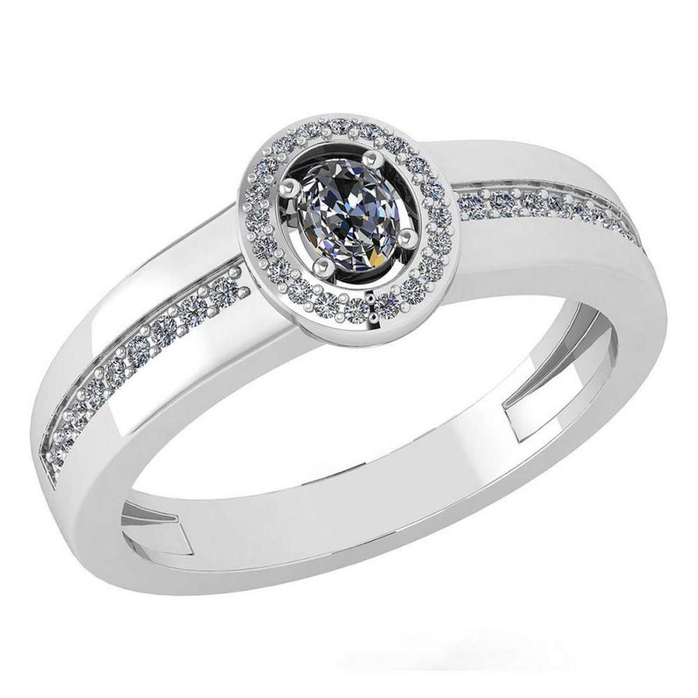 Certified 0.35 Ctw Diamond 14K White Gold Halo Ring #1AC16995
