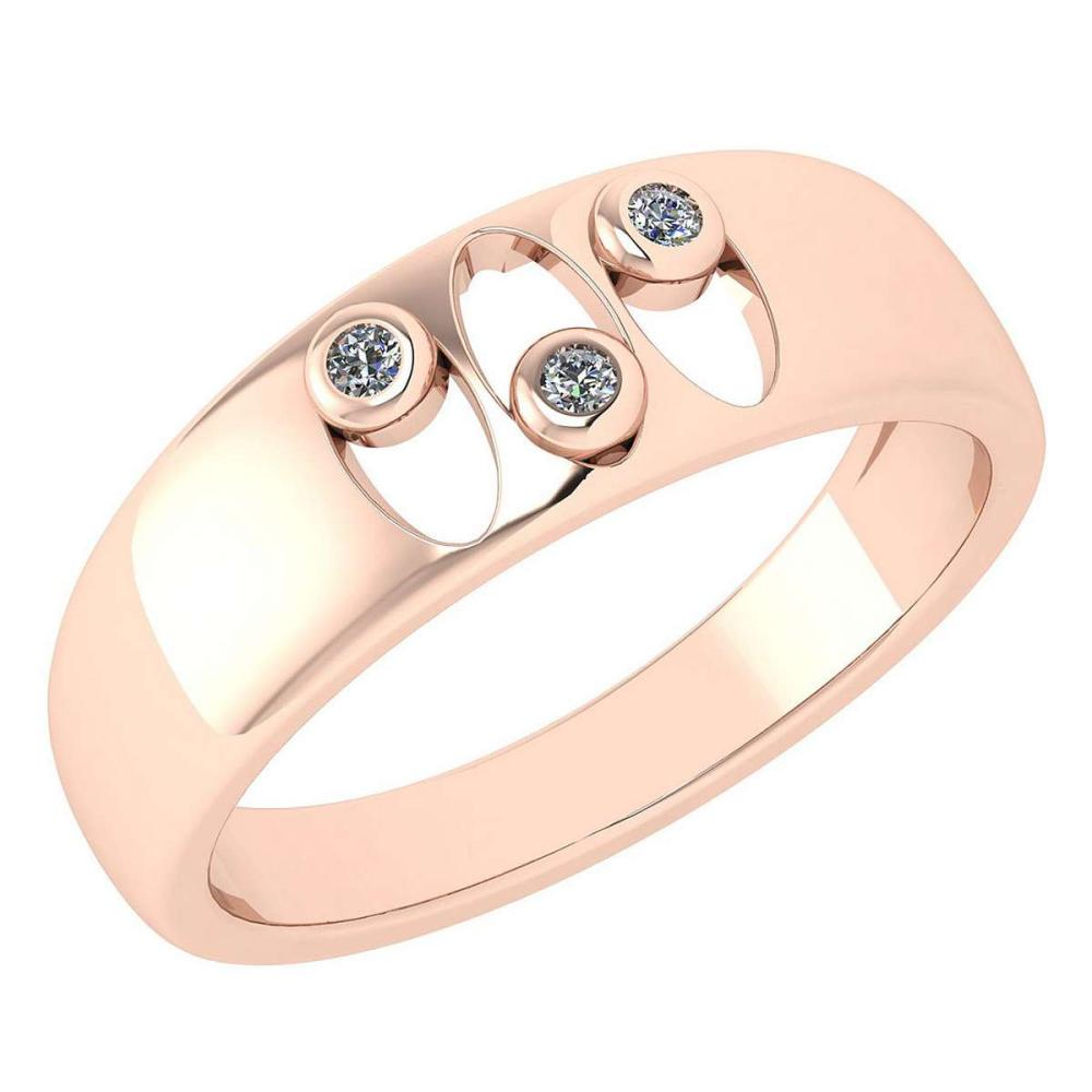 Certified 0.04 Ctw Diamond Wedding Style Halo Band 14K Rose Gold (SI2/I1) #1AC17869