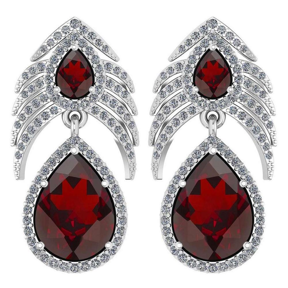 Lot 1111029: Certified 7.38 Ctw Garnet And Diamond VS/SI1 Pear Shape 14K White Gold Hangling Stud Earring #1AC20118