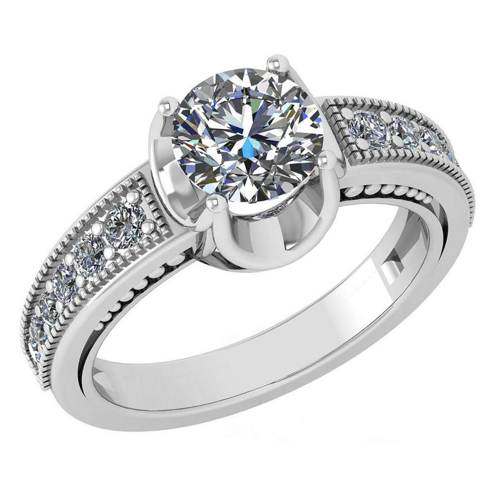 Certified 1.48 Ctw Diamond Wedding/Engagement Style 14K White Gold Halo Ring (SI2/I1) #1AC17871