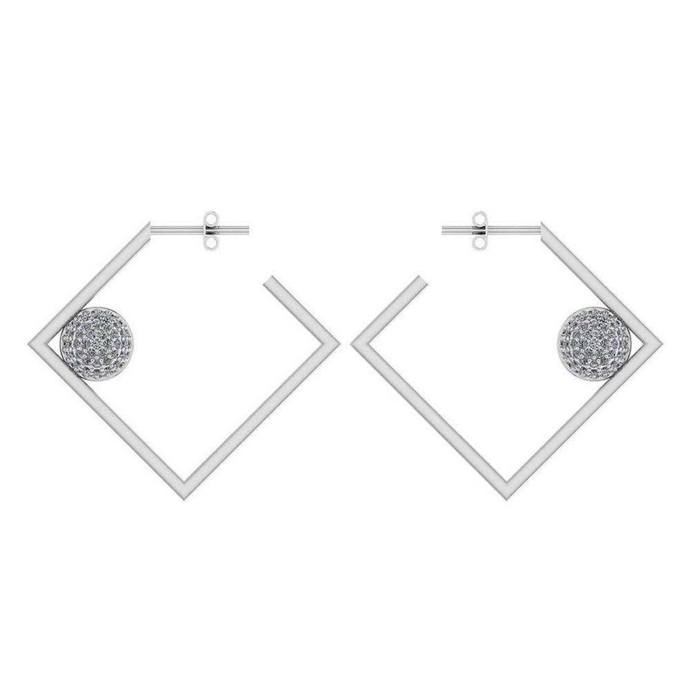 Certified 0.63 Ctw Diamond 14K White Gold Earrings #1AC17061