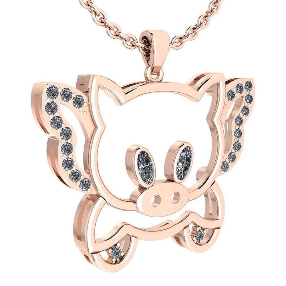 Certified 0.28 Ctw Diamond Chinese Century Year Of Pig 2019 Charms Necklace 18K Rose Gold (VS/SI1) #1AC19360