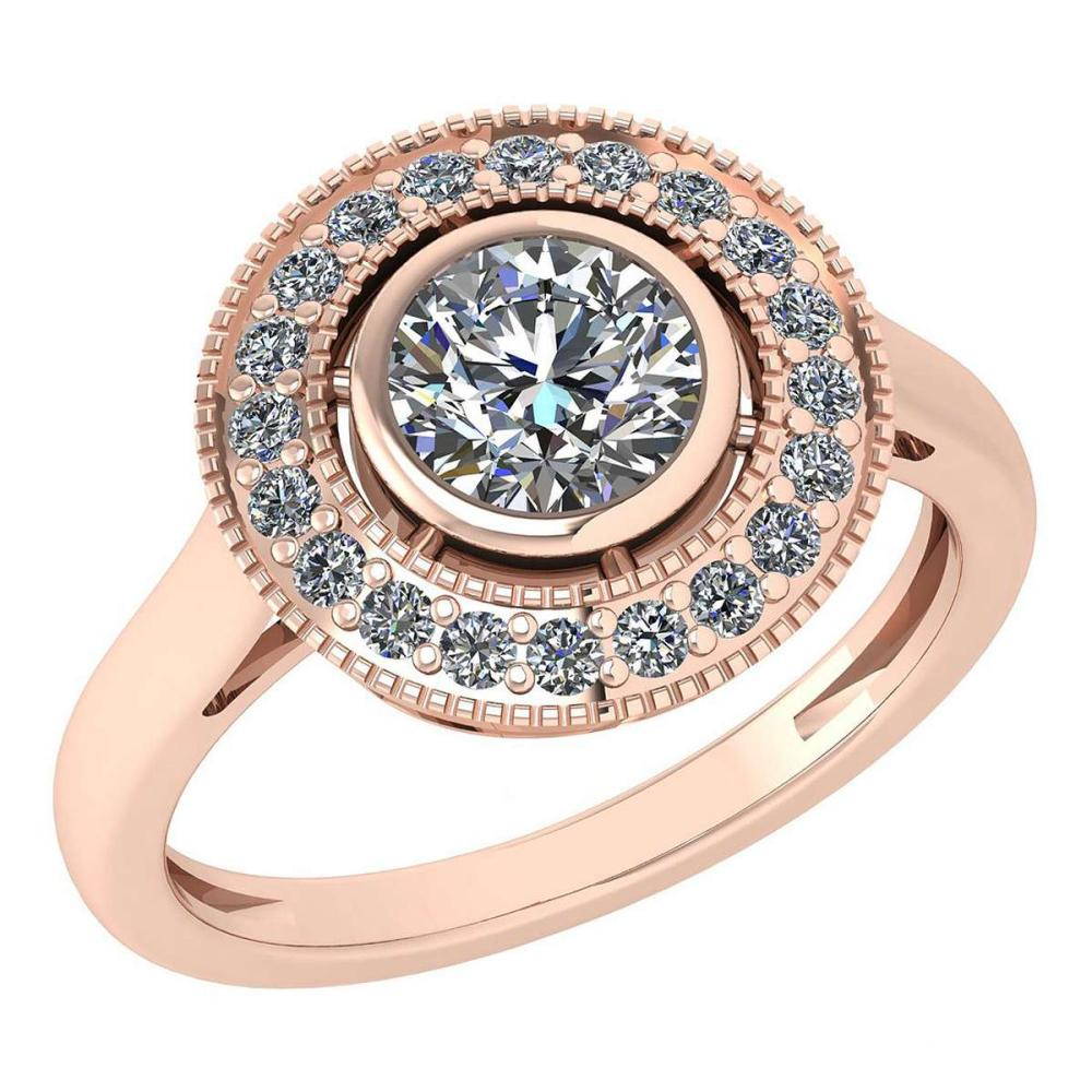 Certified 1.12 Ctw Diamond Wedding/Engagement Style 14K Rose Gold Halo Ring (SI2/I1) #1AC17875