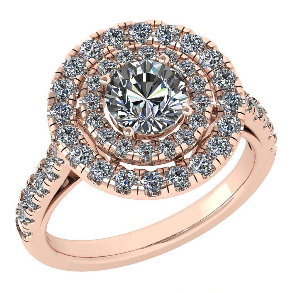 Certified 1.99 Ctw Diamond Wedding/Engagement Style 14K Rose Gold Halo Ring (SI2/I1) #1AC17887