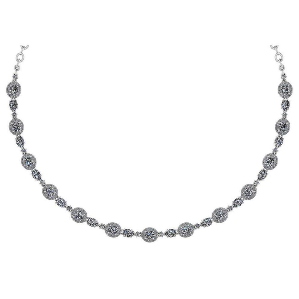 Certified 10.15 Ctw Diamond Necklace For Ladies 14K White Gold (SI2/I1) #1AC19329