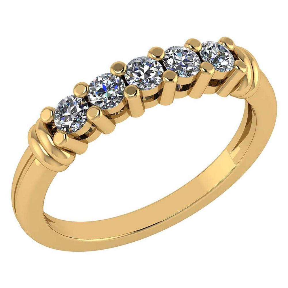 Certified 0.43 Ctw Diamond Engagement /Wedding 14K Yellow Gold Promises Band #1AC17062
