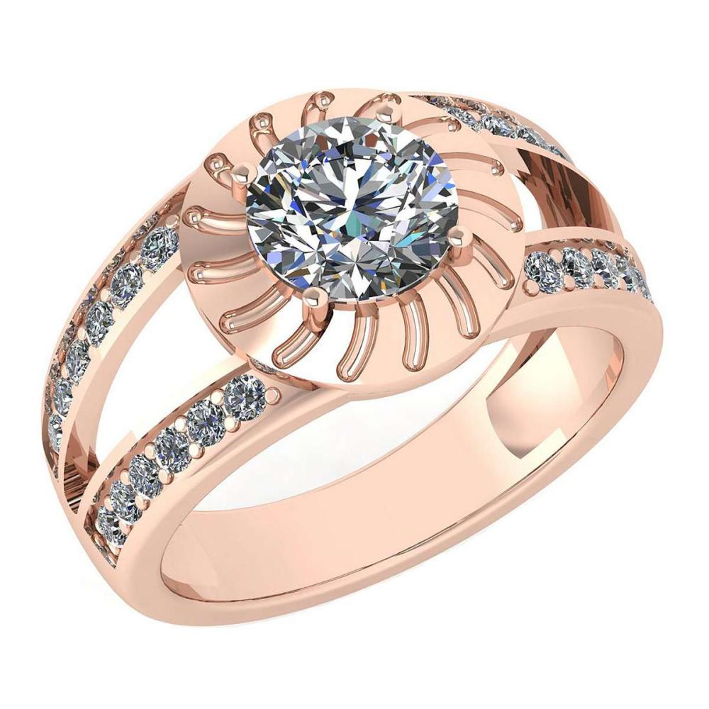 Certified 1.58 Ctw Diamond Wedding/Engagement Style 14K Rose Gold Halo Ring (SI2/I1) #1AC17884