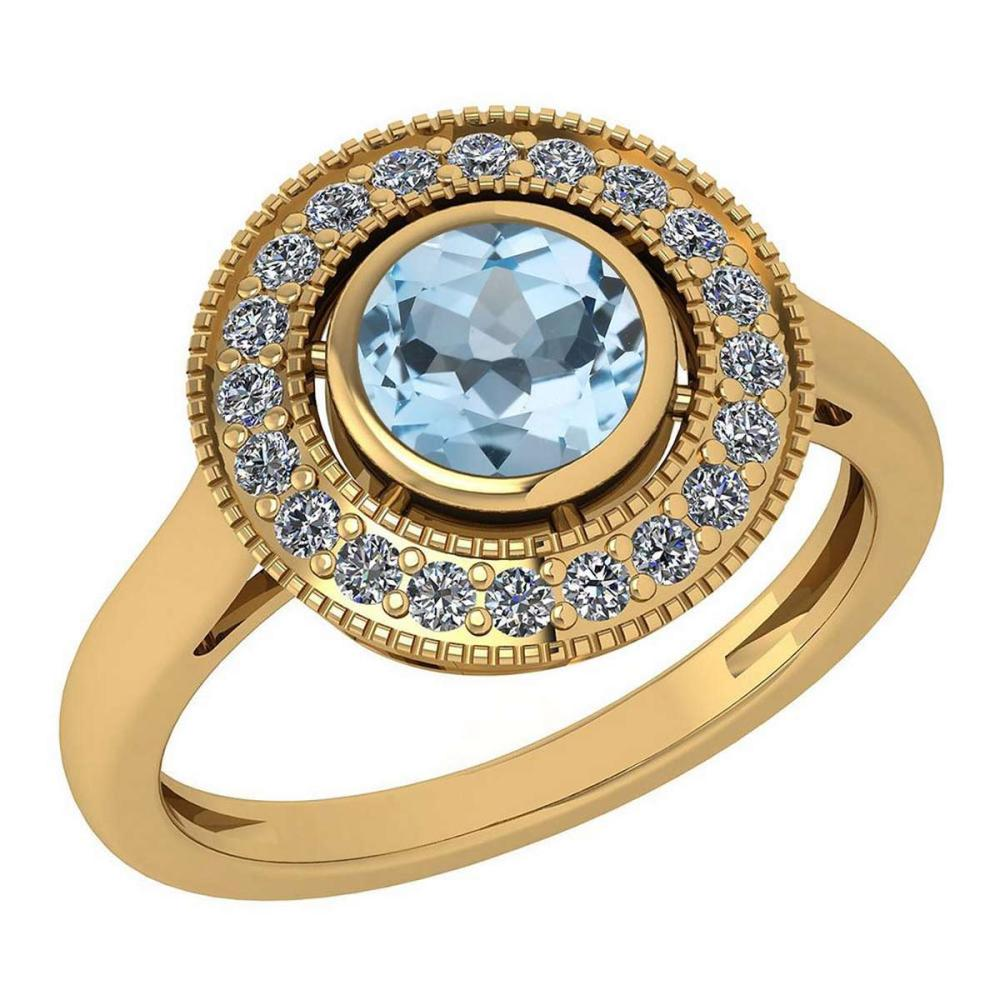 Certified 1.12 Ctw Aquamarine And Diamond Wedding/Engagement Style 14K Yellow Gold Halo Rings #1AC17659
