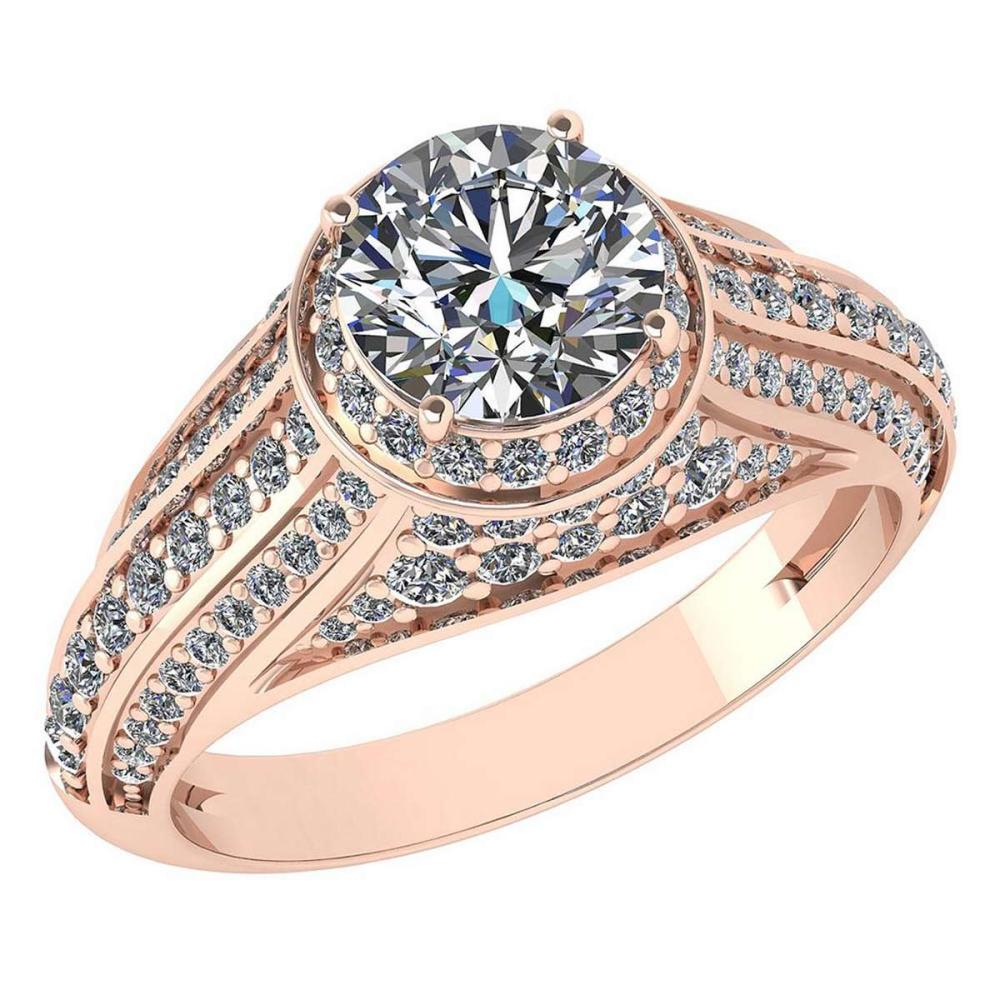 Certified 2.04 Ctw Diamond Engagement /Wedding 14K Rose Gold Promise Ring #1AC17087