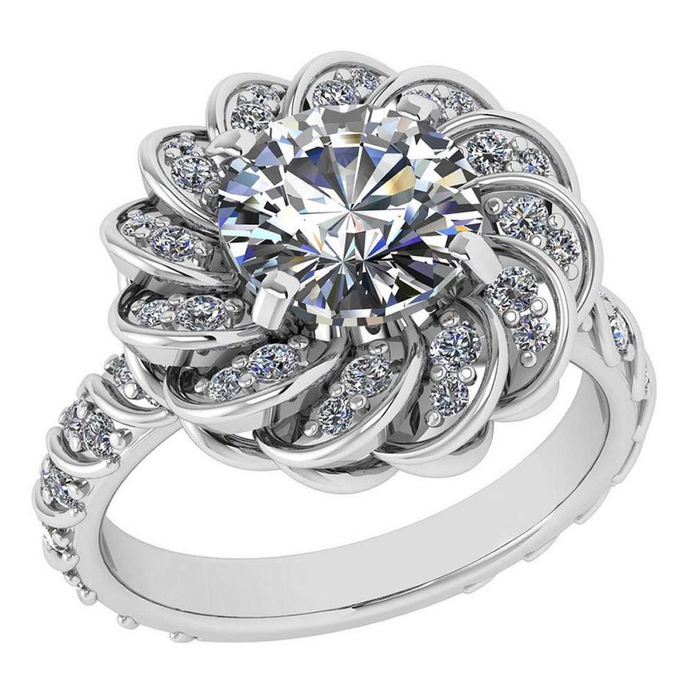 Certified 1.63 Ctw Diamond Wedding/Engagement 14K White Gold Halo Ring #1AC16971
