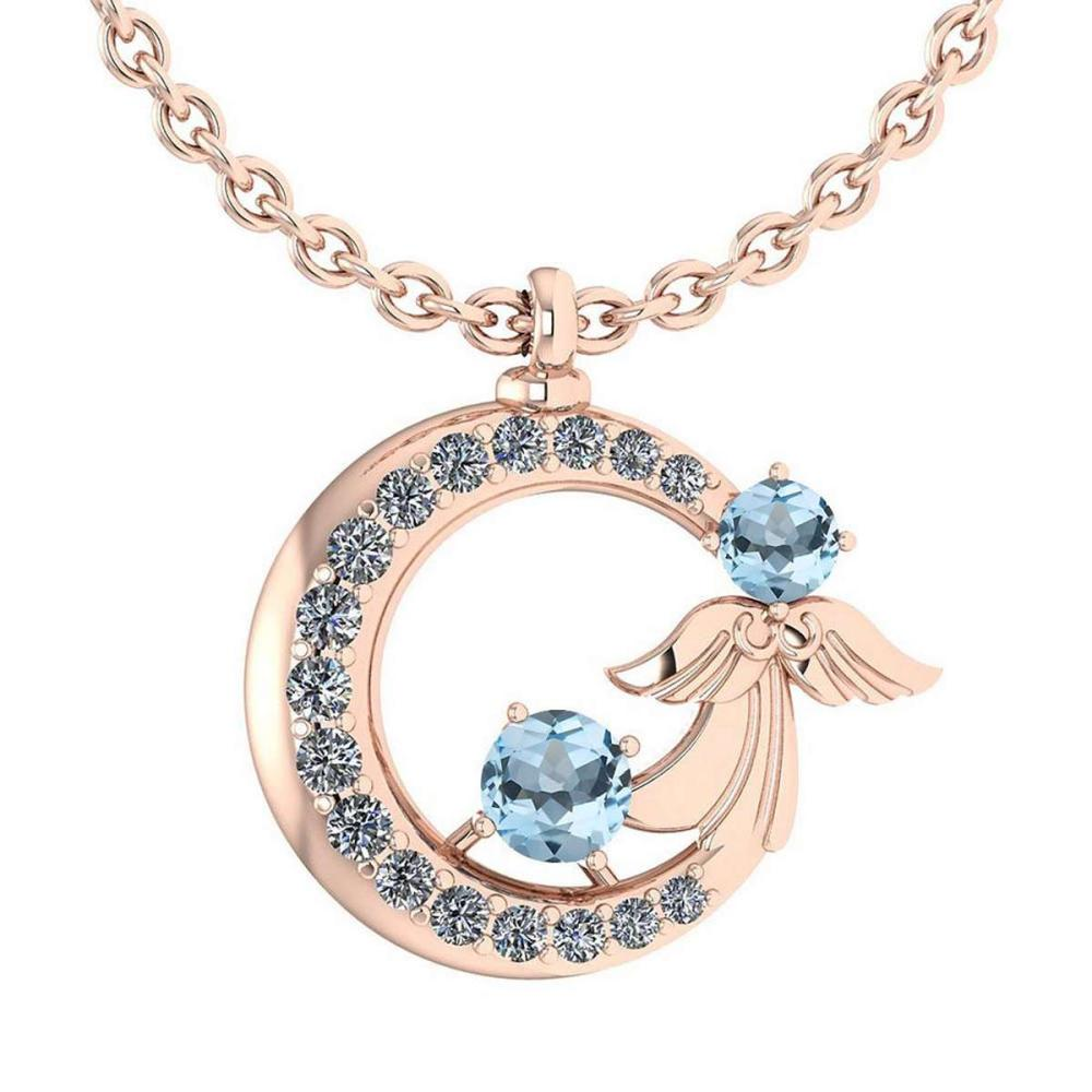 Lot 1111053: Certified 1.14 Ctw Blue Topaz And Diamond VS/SI1 Tiny Angel Necklace For womens New Expressions love collection 14K Rose Gold #1AC20165