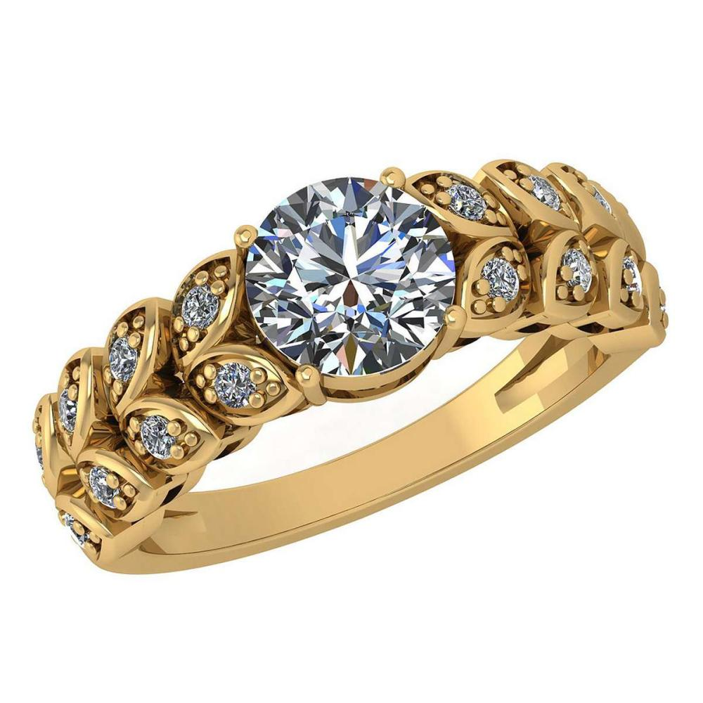 Certified 1.47 Ctw Diamond Wedding/Engagement Style 14K Yellow Gold Halo Ring (SI2/I1) #1AC17882