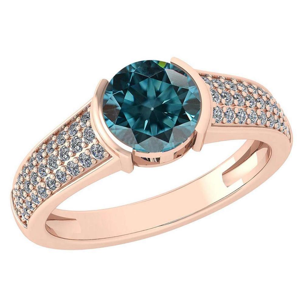Certified 1.55 Ctw Treated Fancy Blue Diamond And White Diamond 14K Rose Gold Halo Ring (SI2/I1) #1AC19453