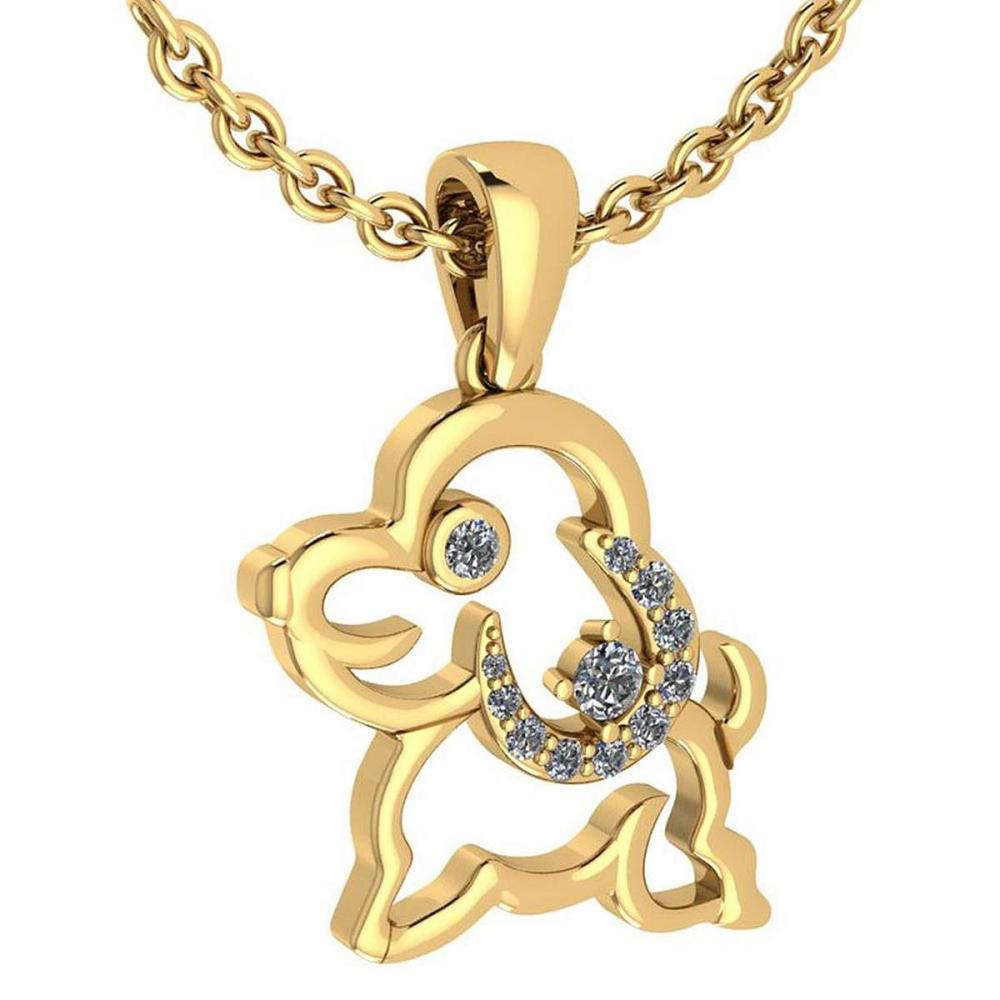 Certified 0.30 Ctw Diamond Chinese Century Year Of Dog Charms Necklace 18K Yellow Gold (VS/SI1) #1AC19358