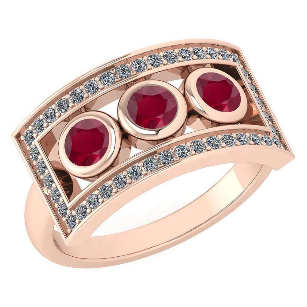 Certified 0.72 Ctw Ruby And Diamond Wedding/Engagement Style 14k Rose Gold Halo Rings #1AC17540