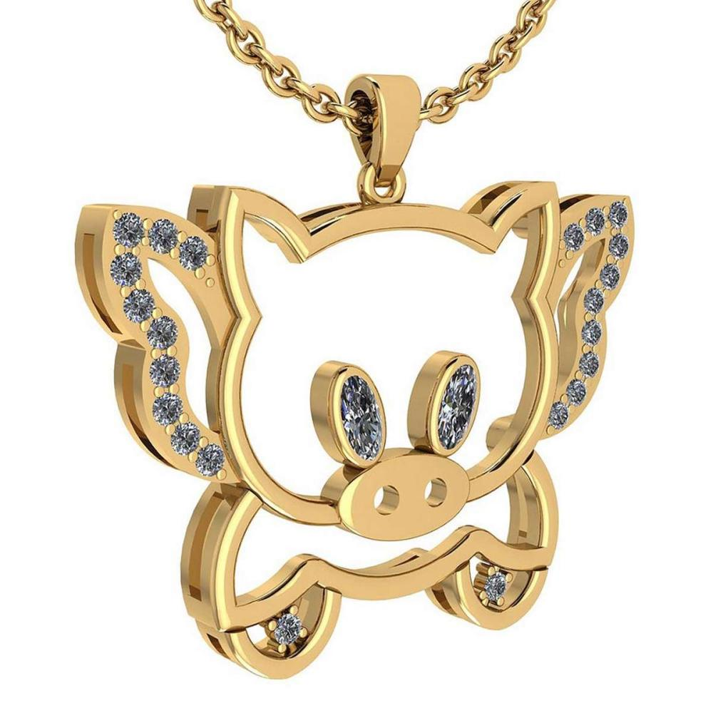 Certified 0.28 Ctw Diamond Chinese Century Year Of Pig 2019 Charms Necklace 18K Yellow Gold (VS/SI1) #1AC19361