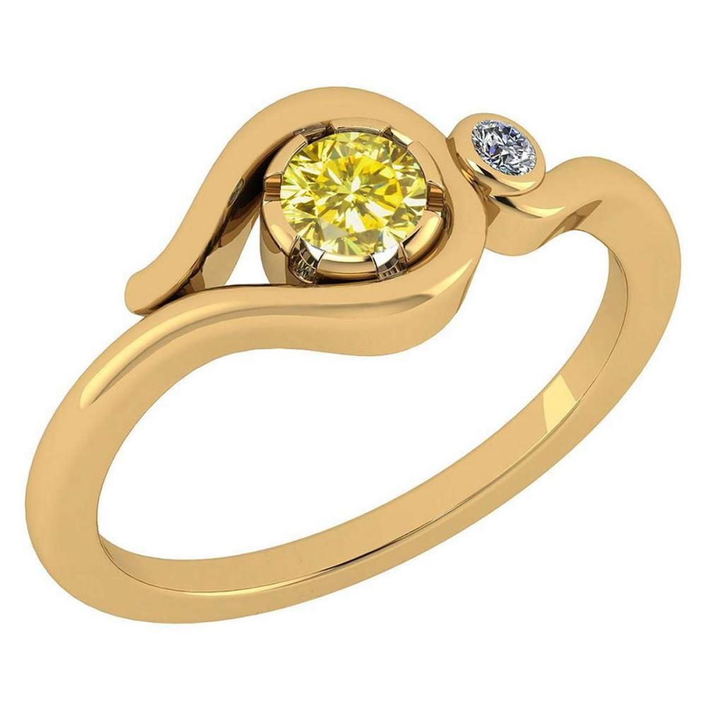Certified 0.28 CtwTreated Fancy Yellow Diamond VS/SI1 And White Diamond VS/SI1 14K Yellow Gold Solitaire Ring #1AC20221