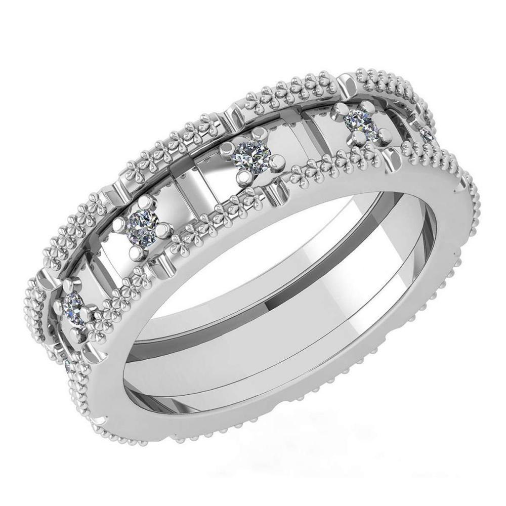 Certified 0.25 Ctw Diamond Wedding Style Halo Band 14K White Gold (SI2/I1) #1AC17862
