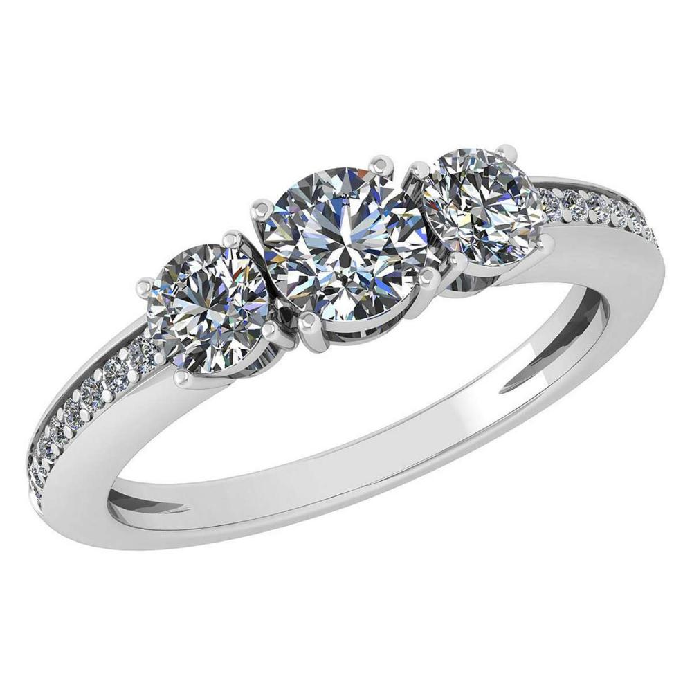 Certified 1.06 Ctw Diamond Wedding/Engagement Style 14K White Gold Halo Ring (SI2/I1) #1AC17889
