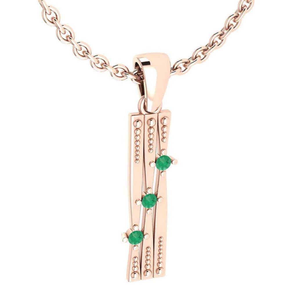 Certified 0.06 Ctw Emerald Styles Necklace 14k Rose Gold #1AC20183