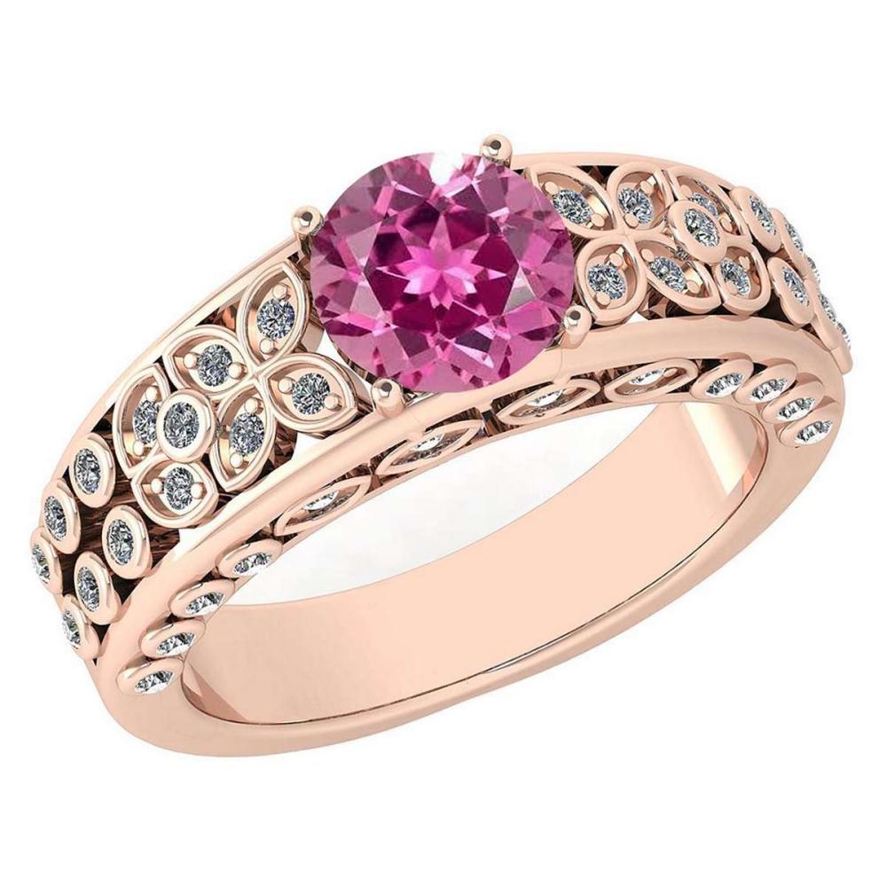 Lot 1111077: Certified 1.57 Ctw Pink Tourmaline And Diamond Wedding/Engagement 14K Rose Gold Halo Ring #1AC17296