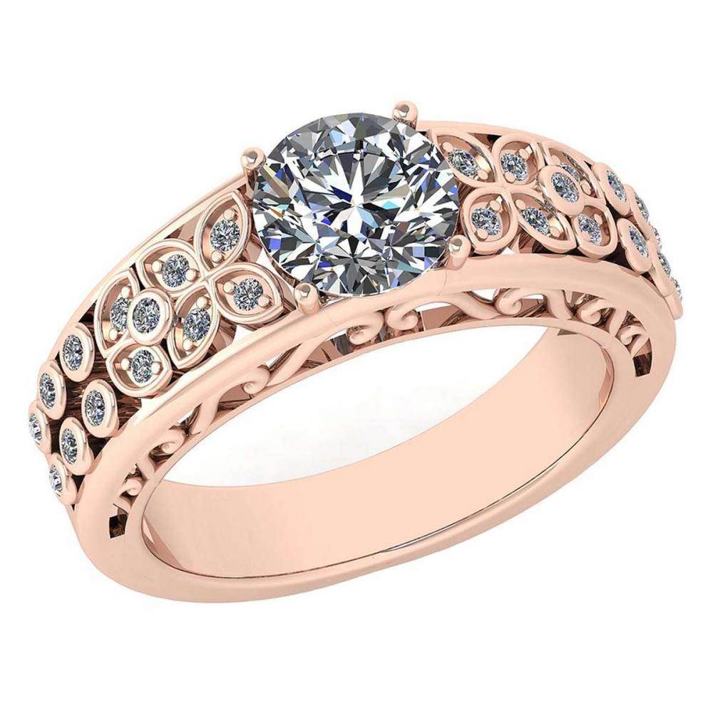 Lot 1111078: Certified 1.45 Ctw Diamond Engagement /Wedding 14K Rose Gold Promise Ring #1AC17084