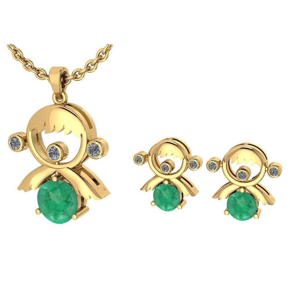 Certified 0.93 Ctw Emerald And Diamond Tiny Angel Necklace + Earrings Jewelry Set 14K Yellow Gold (VS/SI1) #1AC19389